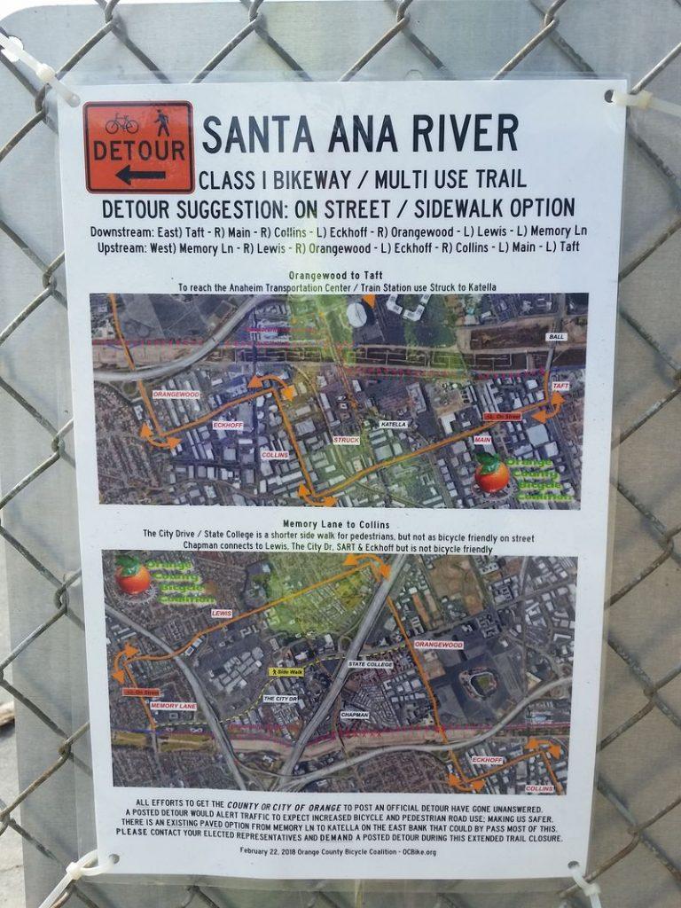 santa ana river trail detour